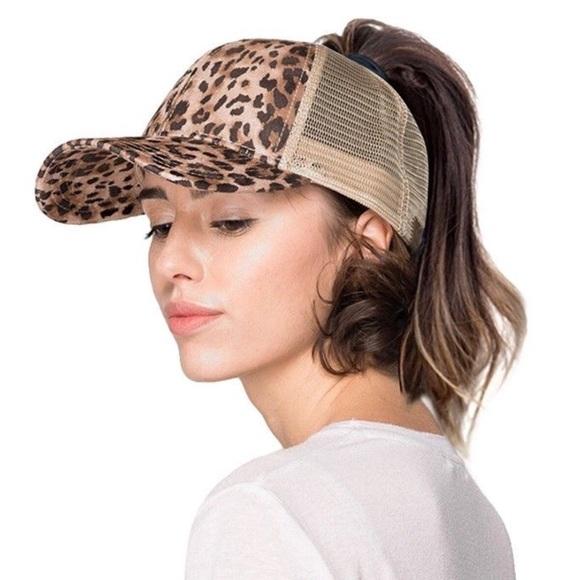 CC Beanie ponytail cap leopard print 95295c635e35